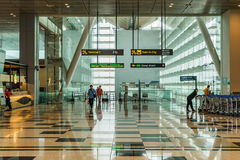 Visitors walk from MRT train into Changi Airport Singapore Royalty Free Stock Image