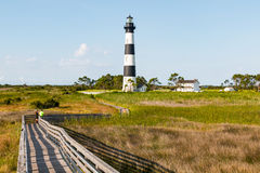 Visitors Walk on Wooden Ramp at Bodie Island Lighthouse royalty free stock photography