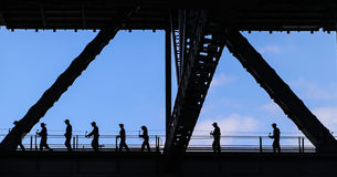 Visitors walking through harbour bridge in sydney,australia Royalty Free Stock Photography