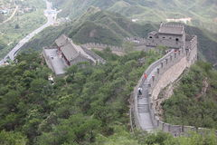 Visitors walks on the Great Wall of China on Royalty Free Stock Photos