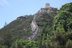 Visitors walks on the Great Wall of China on Stock Photos