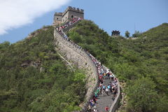 Visitors walks on the Great Wall of China on Royalty Free Stock Images