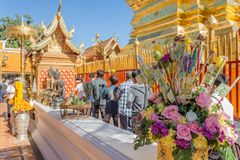 Visitors at Wat Phra That Doi Suthep in Chiang Mai Province, Thailand royalty free stock images