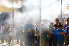 Visitors and water spray in Expo 2015, Milan Stock Image
