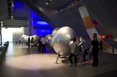 Science Museum, London. Visitors were checking the different inventions of computer applications that helped to understand human`s health Stock Images