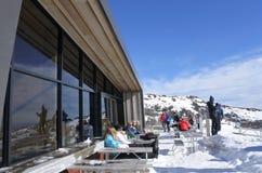 Visitors in Whakapapa skifield on Mount Ruapehu Royalty Free Stock Images