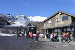 Visitors in Whakapapa skifield on Mount Ruapehu Stock Photos