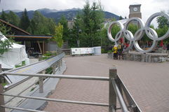 Visitors at Whistler Olympic rings. Visitors at the Whistler Olympic rings, a legacy of 2010 Winter Olympic Games in Vancouver, Canada Stock Image