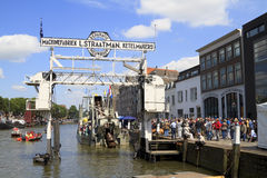 Visitors on Wolwevershaven harbor Royalty Free Stock Photography