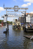 Visitors on Wolwevershaven harbor in Dordrecht. Royalty Free Stock Photo