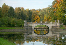 Viskont'ev bridge across Slavyanka river, Pavlovsk park, Saint P Stock Images