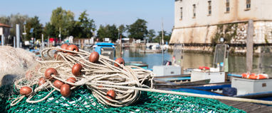Visnet in de haven Royalty-vrije Stock Afbeeldingen