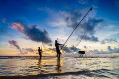 Visnet tijdens zonsopgang Royalty-vrije Stock Foto's