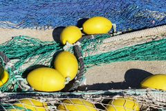 Visnetten in de haven van Santa Pola, Alicante-Spanje Stock Fotografie