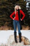Visning av henne vinterkläder Fotografering för Bildbyråer