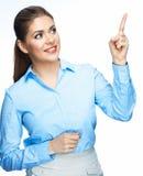 Visning för affärskvinna på copyspace Arkivbild