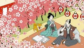 Visning för körsbärsröd blomning i ukiyo-e stock illustrationer