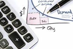 Visningaffär och finansiell rapport om tillgång och efterfrågan. Redovisa Royaltyfri Bild
