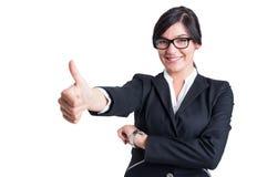 Visningen för affärskvinna gillar eller tummar upp Arkivbild