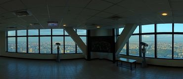 Visningplattform upptill av det Kaohsiung Tuntex tornet Arkivbild