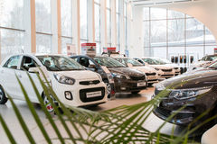 Visningslokal och bil KIA av återförsäljaren Kia-Zentr Kirov i den Kirov staden Arkivfoton