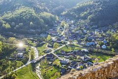 Visnove village from Cachtice castle, Slovakia royalty free stock photo