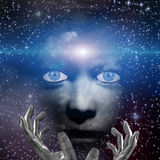 Viso umano con le mani e lo spazio Fotografia Stock