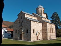 塞尔维亚正统修道院Visoki代查尼 r 图库摄影