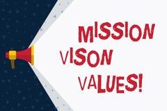 Vison för beskickning för ordhandstiltext värden Affärsidé för att planera för högra beslut för framtida förbättringskarriär royaltyfri illustrationer