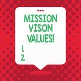 Vison för handskrifttextbeskickning värden Begreppsbetydelseplanläggning för högra beslut för framtida förbättringskarriär vektor illustrationer