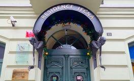 Visor above entrance to Residence Jecna hotel in Prague Stock Photo