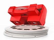 Visor de corrediça vermelho do vintage 3D isolado no fundo branco ilustração 3D Fotos de Stock Royalty Free