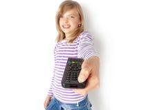 Visor de tevê desapontado que comuta fora da televisão imagens de stock