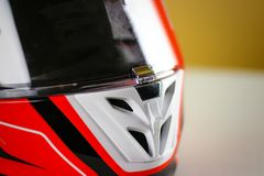 The visor on the helmet is closed on the lock. Moto helmet desig. N. Close up Royalty Free Stock Photos