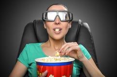 Visor que olha o cinema 3D Fotografia de Stock Royalty Free
