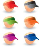 Visors on heads. Multiple colored visors on heads Stock Photography