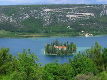 Visovac island and monastery, Croatia royalty free stock image
