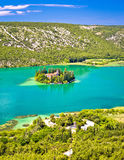 Visovac lake island monastery aerial view royalty free stock images