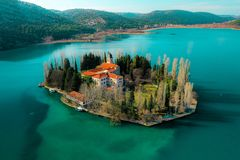 Visovac Monastery, National park Krka, Croatia royalty free stock images