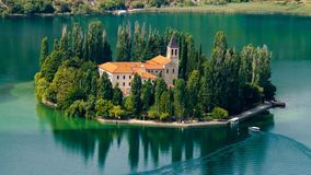 The Visovac Monastery. Panorama of the Krka river and Visovac monastery, Croatia Royalty Free Stock Image