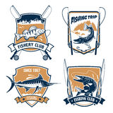 Visreis en vissers geplaatste club vectorpictogrammen vector illustratie