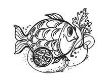 Visschotel met citroen royalty-vrije illustratie