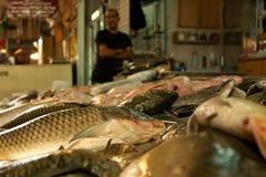 Vissen bij de markt Stock Foto