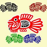 Vissen in de stijl van Amerikaanse Indiërs Stock Foto
