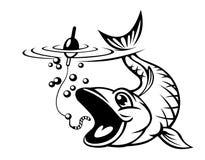 Vissen die een haak vangen Royalty-vrije Stock Afbeeldingen