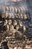 Vissen die in Essaouira roosteren Stock Foto's