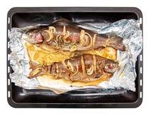 Vissen die in folie in de oven worden gebakken royalty-vrije stock afbeelding