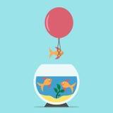 Vissen die van aquarium vliegen Stock Illustratie