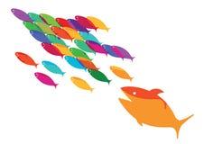 Vissen die van een roofdier ontsnappen royalty-vrije illustratie
