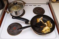 Vissen in een pan op een elektrisch fornuis worden gekookt dat Het deksel is open Ongezond vettig voedsel stock fotografie